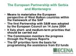 the european partnership with serbia and montenegro