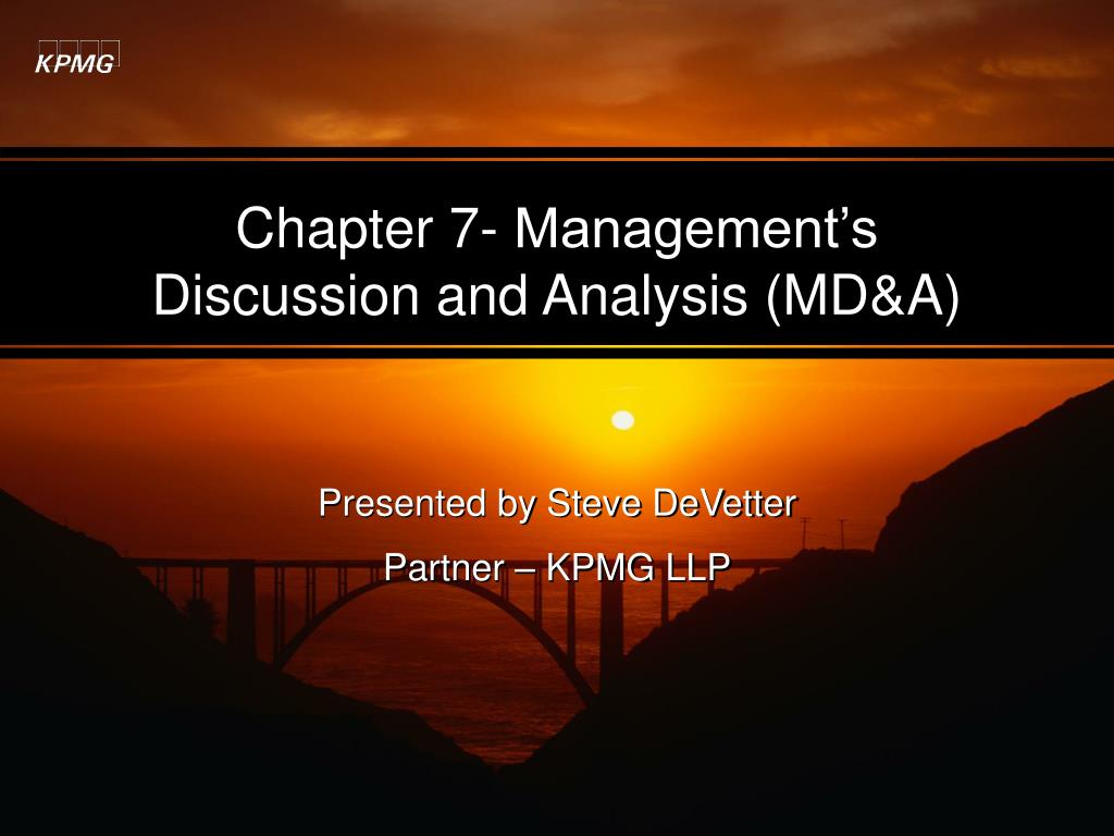 chapter 7 management s discussion and analysis md a l.