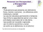 personas con discapacidad y discapacidad lgpc