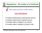 regulations the holder of a certificate