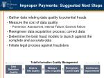 improper payments suggested next steps