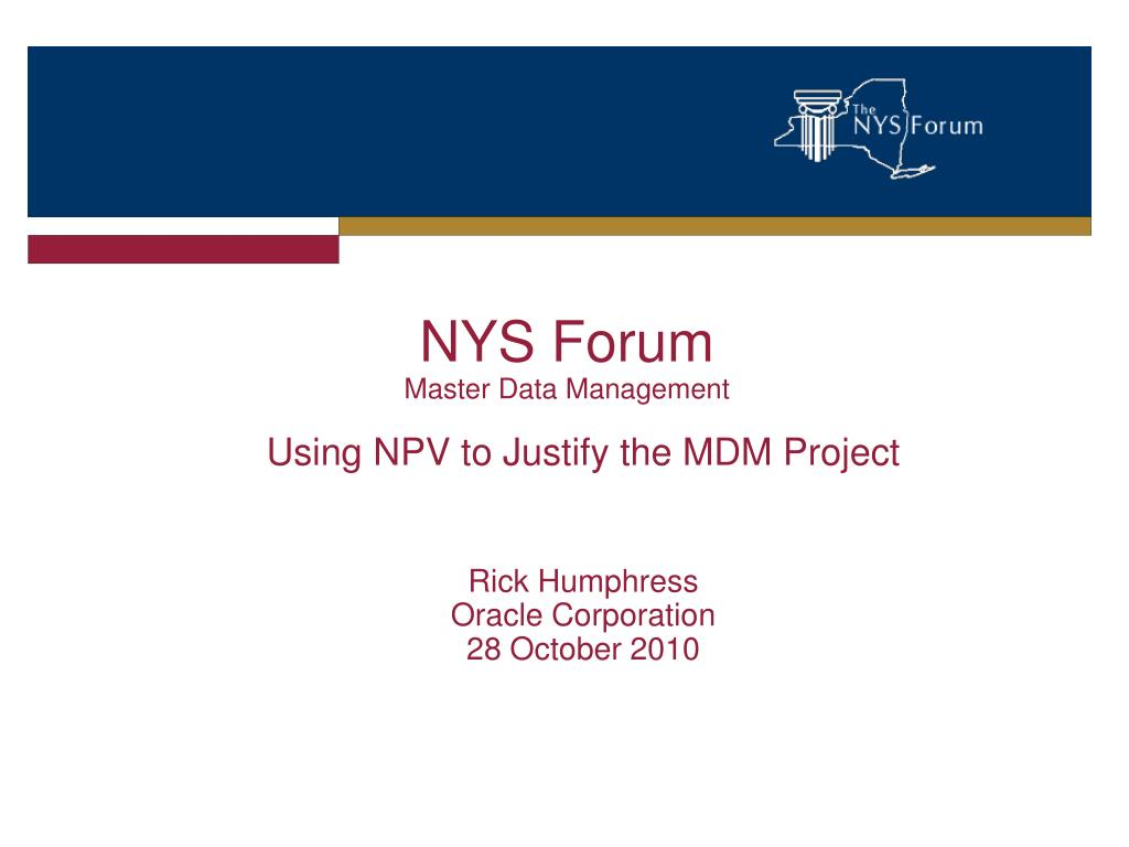 nys forum master data management l.