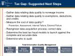 tax gap suggested next steps