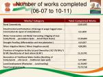number of works completed 06 07 to 10 11