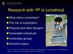 research with yp is un ethical