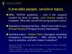 vulnerable people sensitive topics