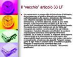 il vecchio articolo 33 lf