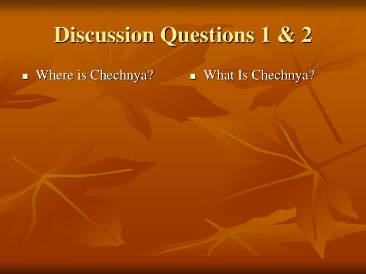 Discussion questions 1 2