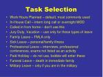 task selection