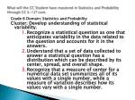 what will the cc student have mastered in statistics and probability through cc k 12 cont
