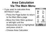 area calculation via the main menu
