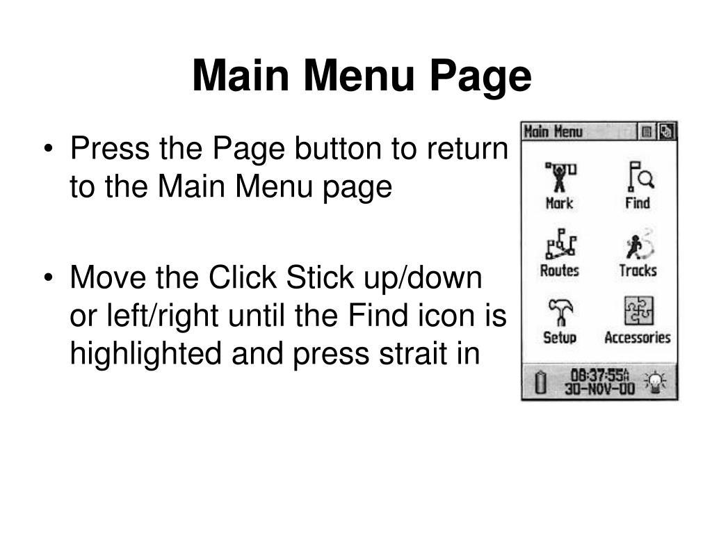 Main Menu Page