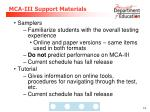 mca iii support materials