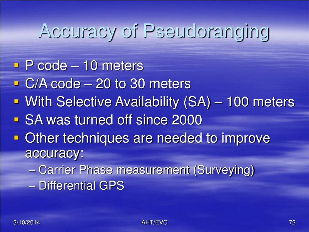 Accuracy of Pseudoranging