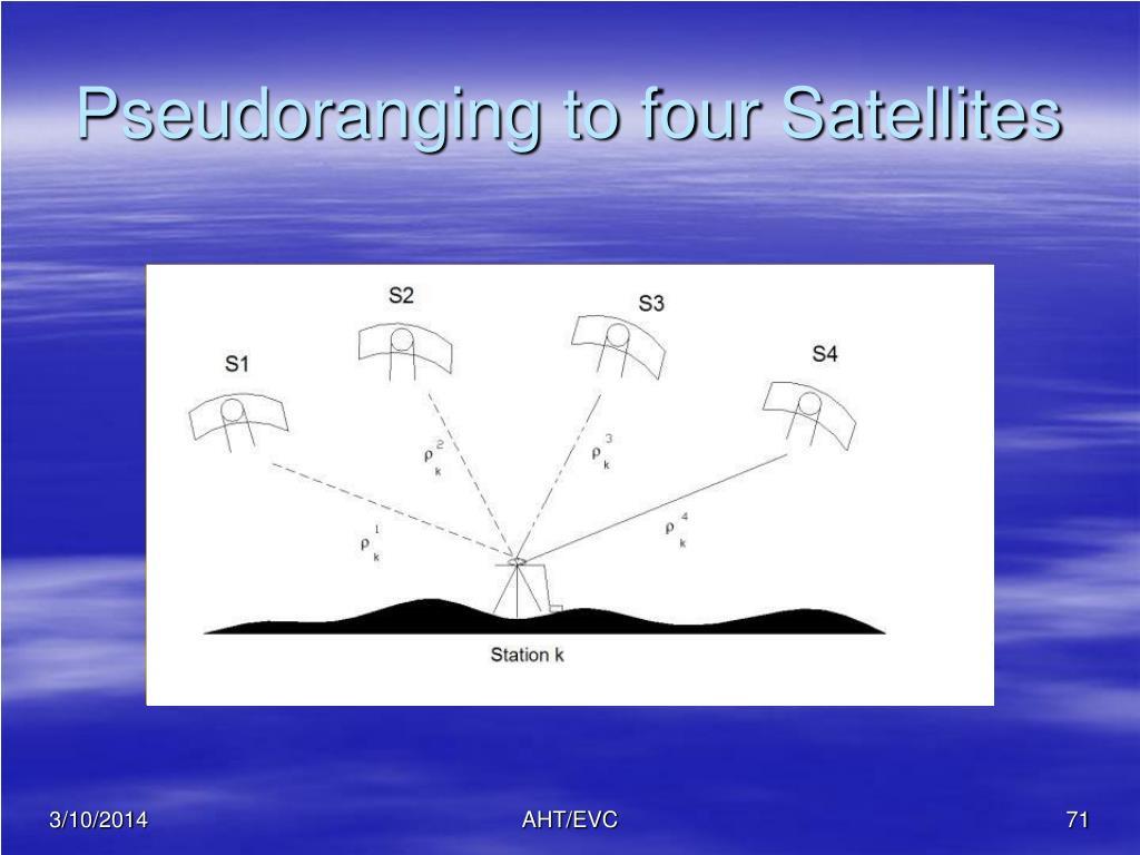 Pseudoranging to four Satellites