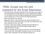 1920s europe was not well prepared for the great depression