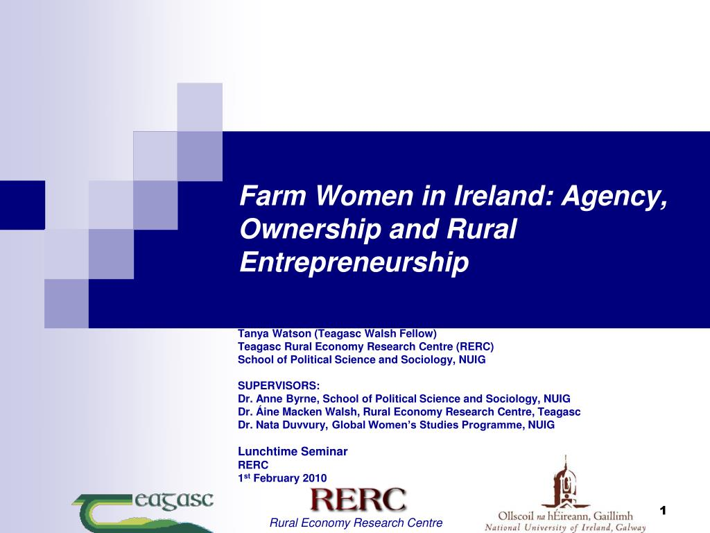 farm women in ireland agency ownership and rural entrepreneurship l.