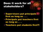 does it work for all stakeholders