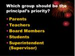 which group should be the principal s priority
