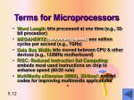 terms for microprocessors