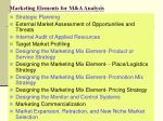 marketing elements for m a analysis
