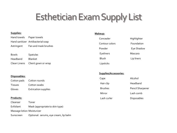 Ppt louisiana state board of cosmetology cosmetology for Esthetician supplies