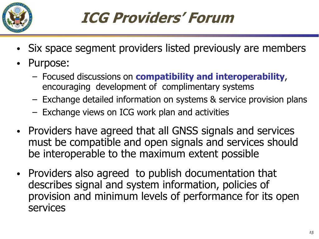 ICG Providers' Forum