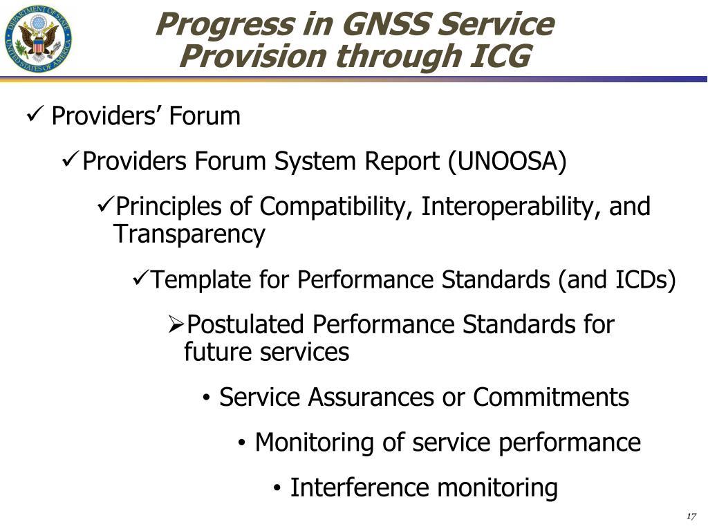 Progress in GNSS Service Provision through ICG