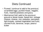 diets continued