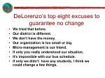delorenzo s top eight excuses to guarantee no change