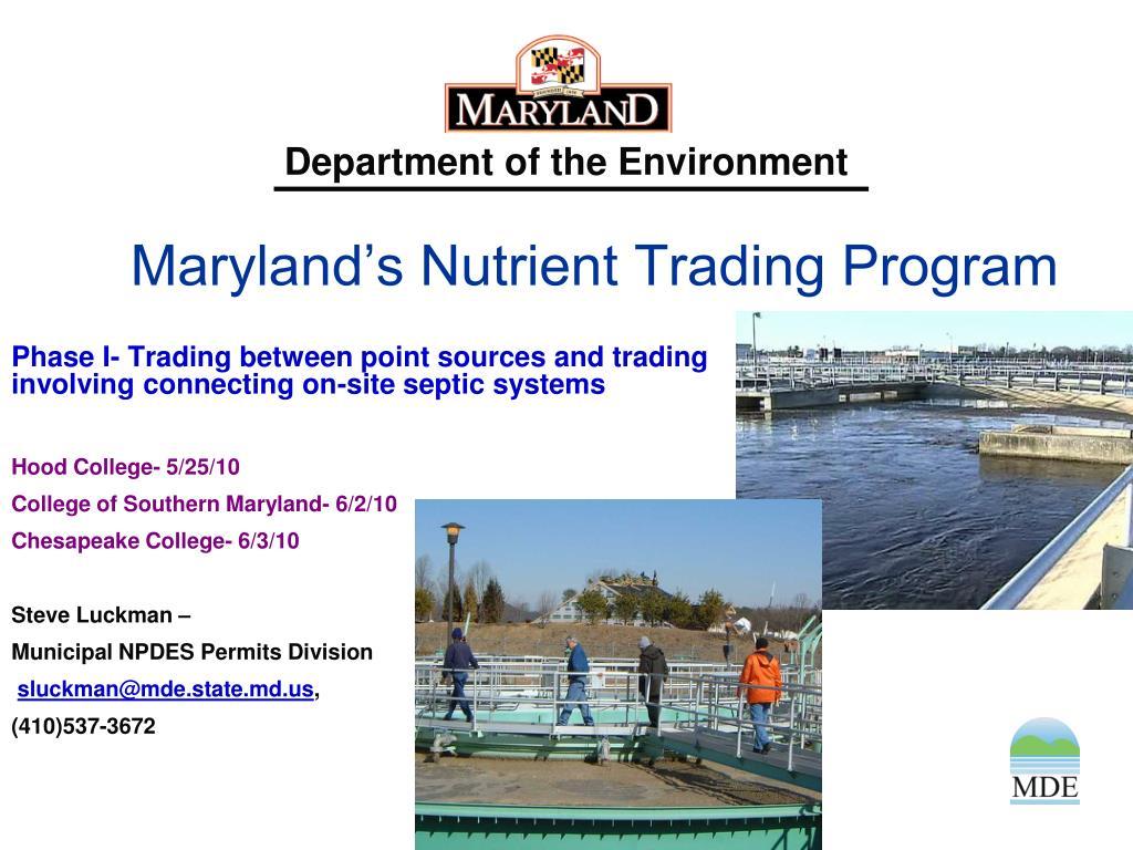 maryland s nutrient trading program l.