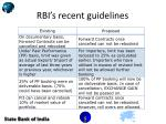 rbi s recent guidelines