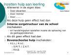 inzetten hulp aan leerling