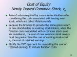 cost of equity newly issued common stock r e