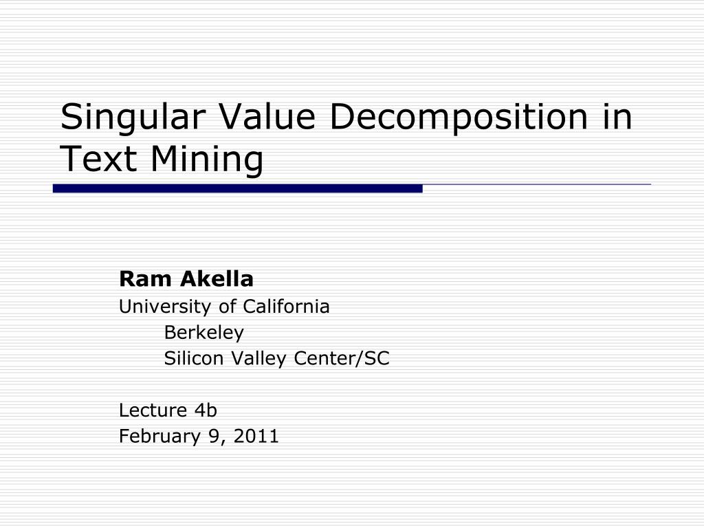 singular value decomposition in text mining l.