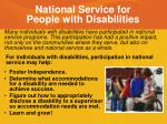 national service for people with disabilities