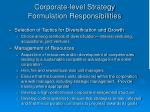 corporate level strategy formulation responsibilities4