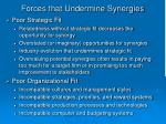 forces that undermine synergies22