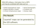 with gis software information from a gps unit may be combined with data such as