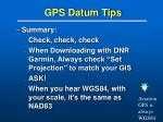gps datum tips
