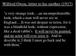 wilfred owen letter to his mother 1917