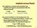 implied versus exact