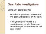 gear ratio investigations