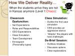 how we deliver reality