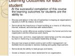 learning outcomes for each student