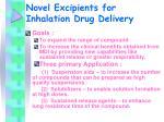 novel excipients for inhalation drug delivery