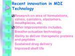 recent innovation in mdi technology