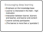 encouraging deep learning