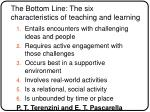 the bottom line the six characteristics of teaching and learning