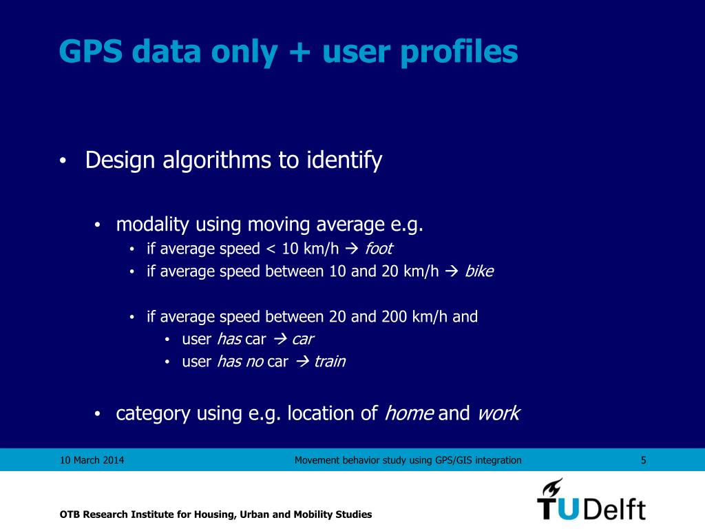 GPS data only + user profiles
